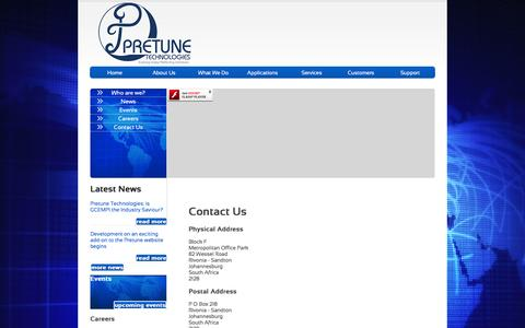 Screenshot of Contact Page pretune.co.za - Pretune - Contact Us - captured Nov. 12, 2016