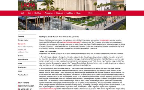 Screenshot of Terms Page lacma.org - Terms of Use | LACMA - captured Sept. 24, 2014