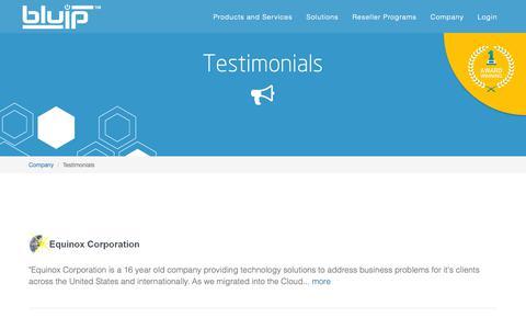 Screenshot of Testimonials Page bluip.com - Testimonials | BluIP - captured Nov. 6, 2018