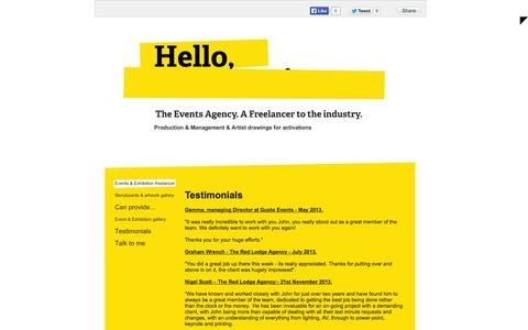 Screenshot of Testimonials Page theeventsagency.co.uk - Freelance events manager - Testimonials - captured Oct. 26, 2014