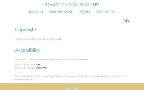 Screenshot of Terms Page howatcapital.com - Legal — Howat Capital Partners - captured Nov. 12, 2016