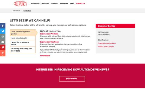 Screenshot of Contact Page dupont.com - Contact Us | Automotive Systems - captured Dec. 19, 2018