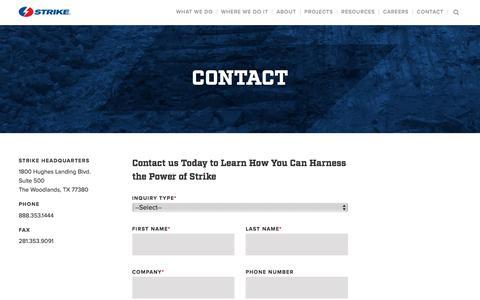 Screenshot of Contact Page strikeusa.com - Contact | Strike Pipeline & Facilities Solutions - captured Aug. 19, 2019