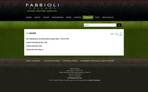 Screenshot of Hours Page fabbioliwines.com - Hours - captured Jan. 31, 2017