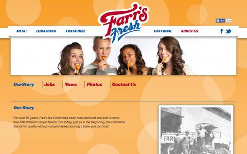 Screenshot of About Page farrsfresh.com - About Us - Farr's Fresh Ice Cream, Frozen Yogurt and Custard - captured Oct. 5, 2014