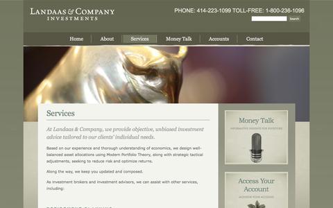 Screenshot of Services Page landaas.com - Services | Landaas & Company - captured Oct. 1, 2014