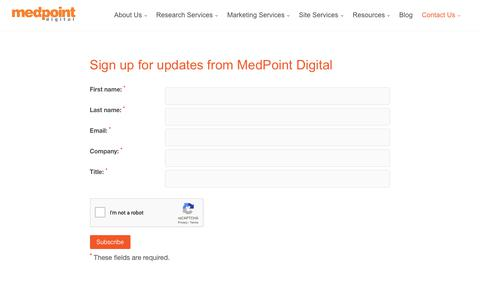 Screenshot of Signup Page medpt.com - Subscribe to MedPoint Updates | MedPoint Digital - captured Oct. 17, 2018