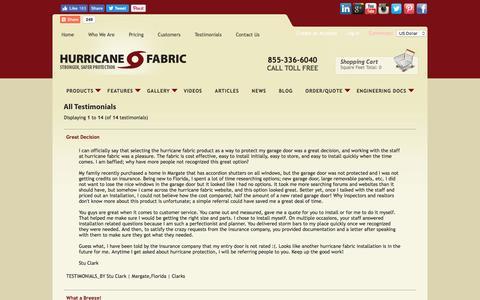 Screenshot of Testimonials Page hurricanefabric.com - Testimonials | Customer Reviews | Hurricane Fabric - captured Nov. 15, 2016