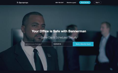 Screenshot of Home Page bannerman.com - Security Guard Services - Bannerman - captured April 20, 2016