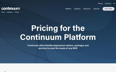 Screenshot of Pricing Page continuum.net - Managed IT Services Pricing and Packaging   Continuum - captured May 1, 2019