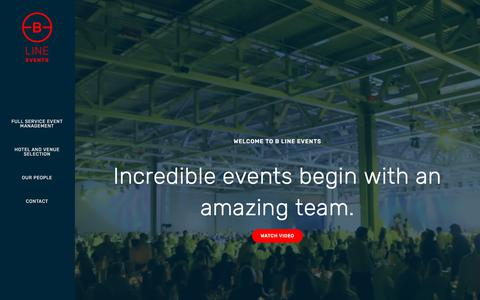 Screenshot of Home Page blineevents.com - B Line Events | Event Planning and Event Management Services - captured Sept. 26, 2018
