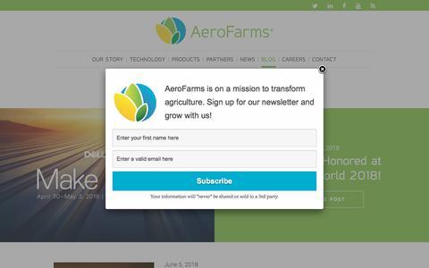 Screenshot of Blog aerofarms.com - AeroFarms - AeroFarms Blog - AeroFarms - captured July 9, 2018