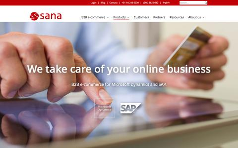 Screenshot of Products Page sana-commerce.com - Products | Sana Commerce - captured July 22, 2016
