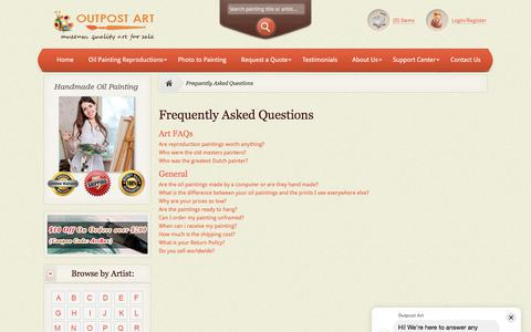 Screenshot of FAQ Page outpost-art.org - Frequently Asked Questions : Museum Quality Art for Sale - captured July 17, 2019