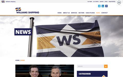 Screenshot of Press Page williams-shipping.co.uk - News | Williams Shipping - captured Nov. 6, 2017