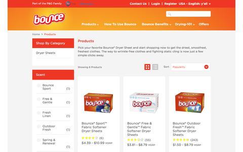 Screenshot of Products Page bouncefresh.com - Discover or Buy our Laundry Products - Bounce - captured July 2, 2018