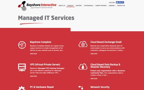 Screenshot of Services Page bayshore.net - Orlando IT Support | Orlando Managed IT Services | Bayshore - captured Nov. 22, 2016
