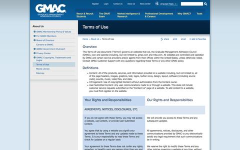 Screenshot of Terms Page gmac.com - Terms of Use - captured Sept. 23, 2014
