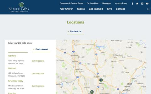 Screenshot of Locations Page northway.org - Find a church in Pittsburgh, PA, Pennsylvania - captured Dec. 1, 2016