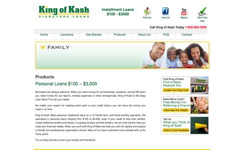 Screenshot of Products Page kingofkash.com - Signature Loans - Online Personal Loans - Bad Credit | King of Kash - captured Oct. 6, 2014