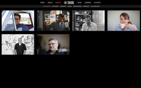 Screenshot of Team Page swirlmcgarrybowen.com - People | Leadership | Swirl - captured Sept. 21, 2018