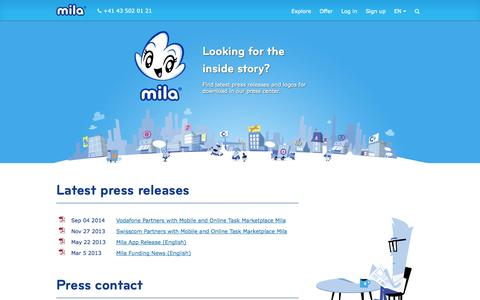 Screenshot of Press Page mila.com - Mila - Press - captured Sept. 16, 2014