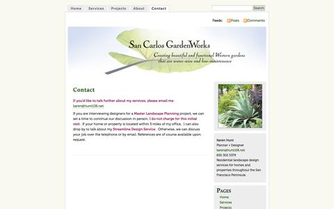 Screenshot of Contact Page sancarlosgardenworks.com - Contact | San Carlos GardenWorks :: Residential Landscape Design | Fine Gardening | Private Homes & Businesses | San Francisco Peninsula & San Carlos :: Karen Hunt - captured July 22, 2016