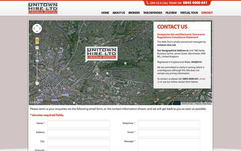 Screenshot of Contact Page unitownhire.co.uk - Replacement Taxis Private Hire Vehicles After Accidents – Unitown - captured Oct. 9, 2014