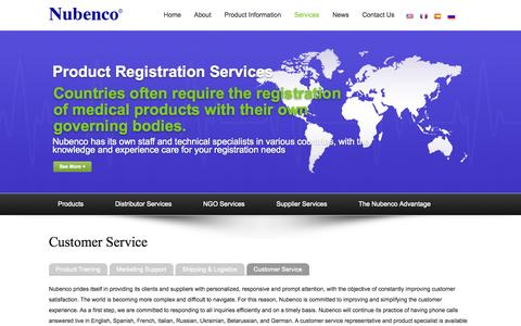 Screenshot of Support Page nubenco.com - Nubenco | Customer Service - captured Oct. 26, 2014