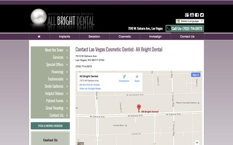 Screenshot of Contact Page Maps & Directions Page allbrightsmile.com - Contact Us | (702) 714-0973 | 7510 W Sahara Ave., Las Vegas, NV 89117 | All Bright Dental - captured Oct. 23, 2014