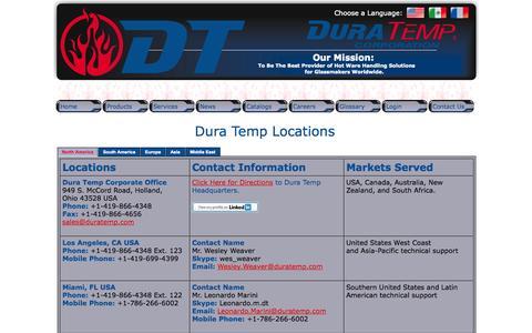 Screenshot of Contact Page duratemp.com - Dura Temp Contact Us Page - captured Oct. 5, 2014