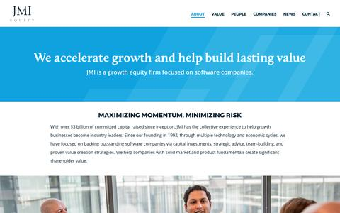 Screenshot of About Page jmi.com - JMI Equity – About - captured Oct. 4, 2017