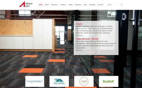Screenshot of Home Page aboveleft.com.au - Commercial Carpet Tiles, Custom Carpet, Eco Carpet, Eco Flooring - captured Sept. 30, 2014