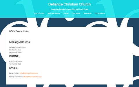 Screenshot of Contact Page defiancechristian.org - DCC's Contact Info – Defiance Christian Church - captured Oct. 12, 2017