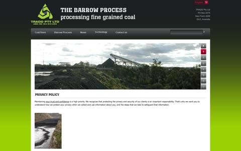 Screenshot of Privacy Page barrowresources.com.au - Privacy policy - THE BARROW PROCESS processing fine grained coal - captured Oct. 5, 2014