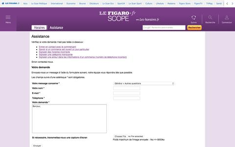 Screenshot of Support Page lefigaro.fr - Assistance - captured Aug. 21, 2016