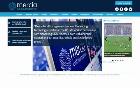 Screenshot of Home Page merciafund.co.uk - EIS/SEIS Fund & Venture Capital Management - Mercia Fund Management - captured Oct. 6, 2014