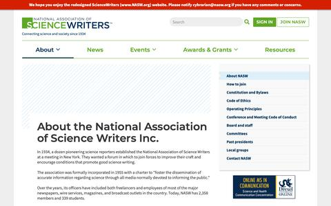 Screenshot of About Page nasw.org - About the National Association of Science Writers Inc.   ScienceWriters (www.NASW.org) - captured Oct. 18, 2018