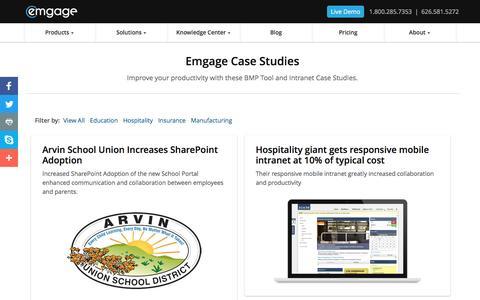 Screenshot of Case Studies Page emgage.com - Intranet and BPM Tool Case Studies | Emgage - captured May 31, 2017