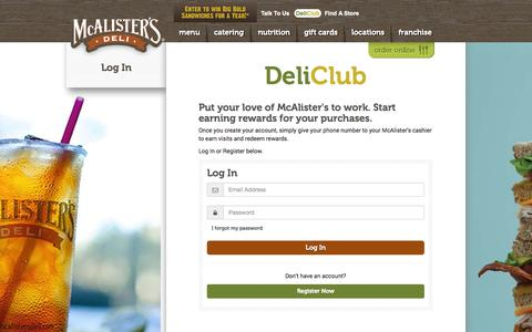 Screenshot of Login Page mcalistersdeli.com - Log In - McAlister's Deli - captured Oct. 27, 2014