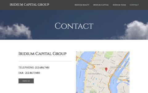 Screenshot of Contact Page iridiumcapllc.com - Contact — Iridium Capital Group - captured Feb. 11, 2016