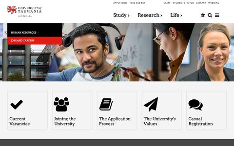 Screenshot of Jobs Page utas.edu.au - Home - Jobs and Careers - University of Tasmania, Australia - captured March 14, 2018