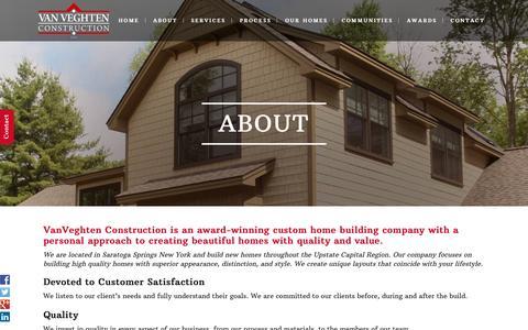 Screenshot of About Page vanveghten.com - VanVeghten Construction Custom Builders Saratoga Springs - captured Aug. 16, 2015