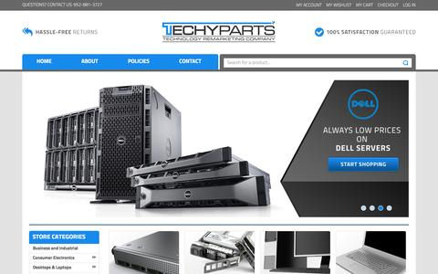 Screenshot of Home Page techyparts.com - Home page - captured Aug. 12, 2016