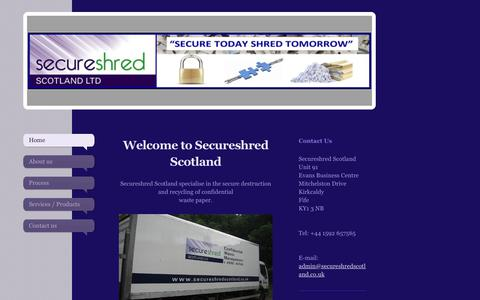 Screenshot of Home Page secureshredscotland.co.uk - Secure Shred Scotland - Home - captured Sept. 30, 2017