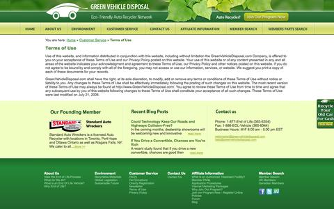 Screenshot of Terms Page greenvehicledisposal.com - Cash for Junk Cars – Money for your Old CarCash for Your Old Junk Car at Green Vehicle Disposal / terms of use - captured Oct. 1, 2014