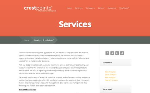 Screenshot of Services Page crestpointe.com - Services - CrestPointe™ - captured Oct. 3, 2014