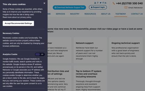 Screenshot of Case Studies Page netvector.co.uk - Case Studies - NetVector - captured Oct. 20, 2018