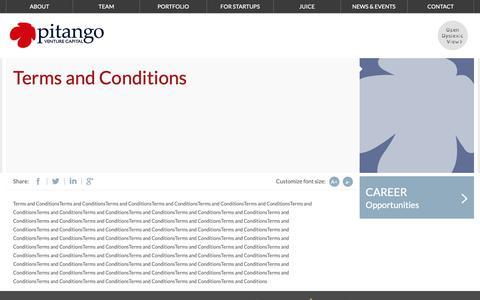 Screenshot of Terms Page pitango.com - pitango - Venture Capital - captured Sept. 28, 2018