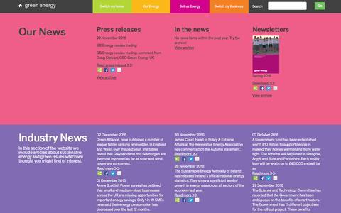 Screenshot of Press Page greenenergyuk.com - News   Green Energy UK - captured Dec. 21, 2016